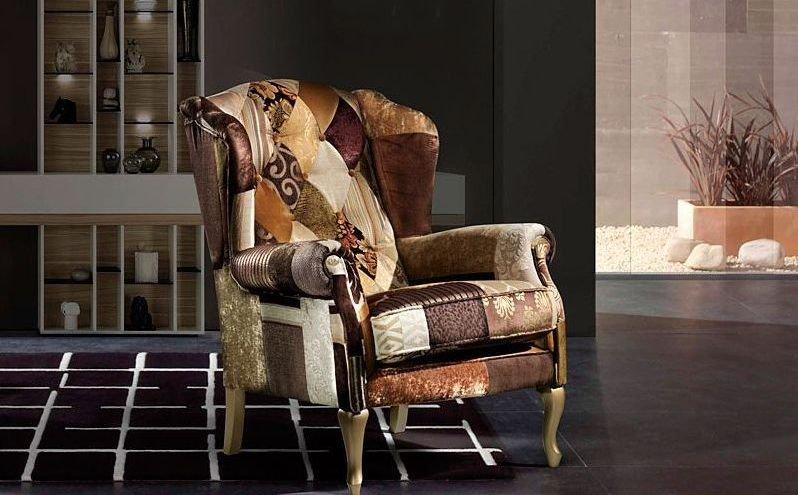 Venta de sillón orejero en tela barato